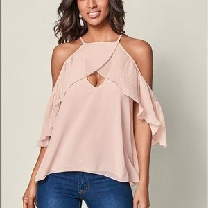 Venus Blush Pink Pleated Cold Shoulder Top Size Sm